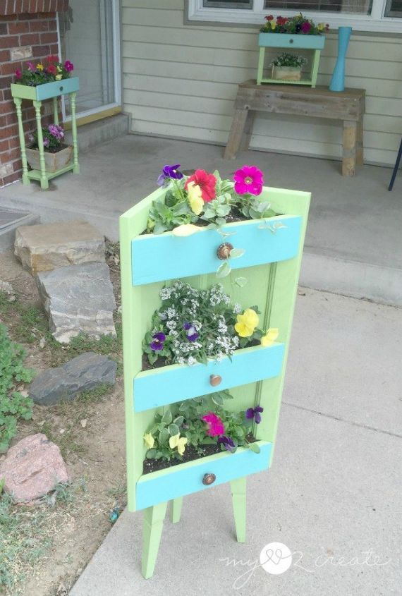 s rip off your cabinet doors for these brilliant upcycling ideas, doors, kitchen cabinets, kitchen design, Turn it into a three tiered planter