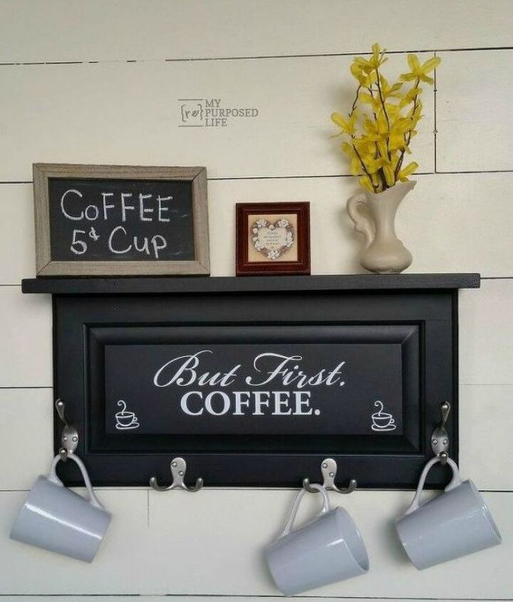 s rip off your cabinet doors for these brilliant upcycling ideas, doors, kitchen cabinets, kitchen design, Build a coffee station with it