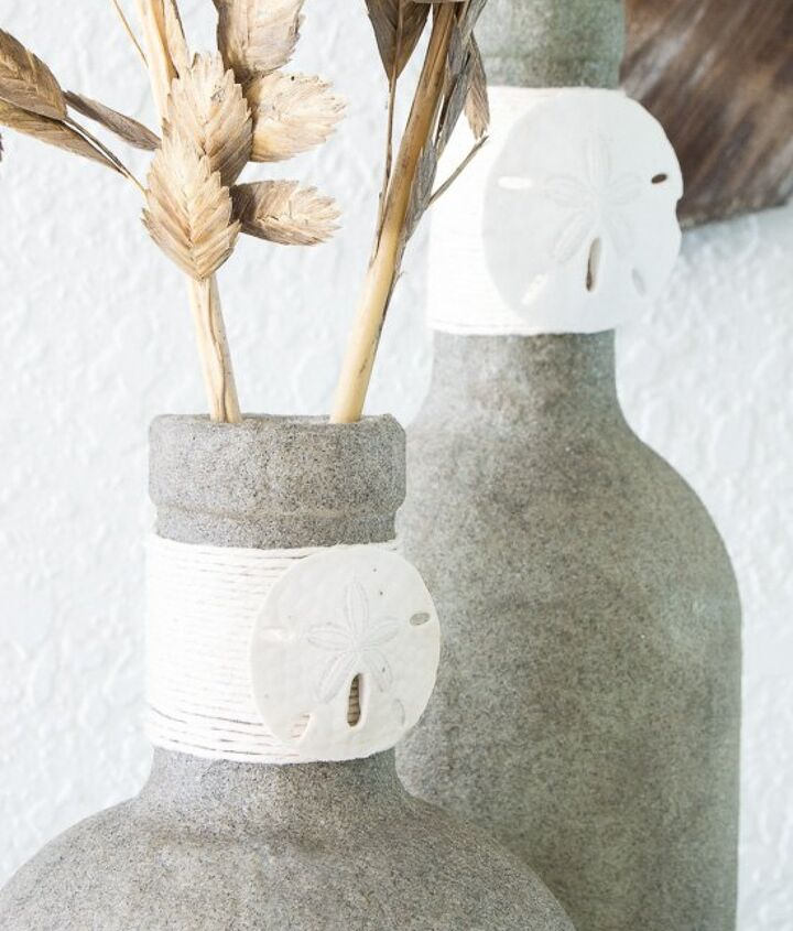 upcycle glass bottles into beautiful beachy vases , cleaning tips, crafts, decoupage, home decor, outdoor living
