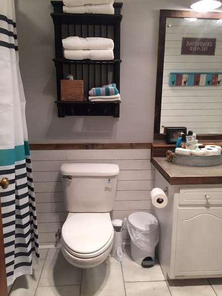 Guest Bathroom Redo With Shiplap & Concrete Counter Top | Hometalk