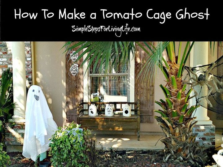 how to make a tomato cage ghost, gardening, halloween decorations, how to
