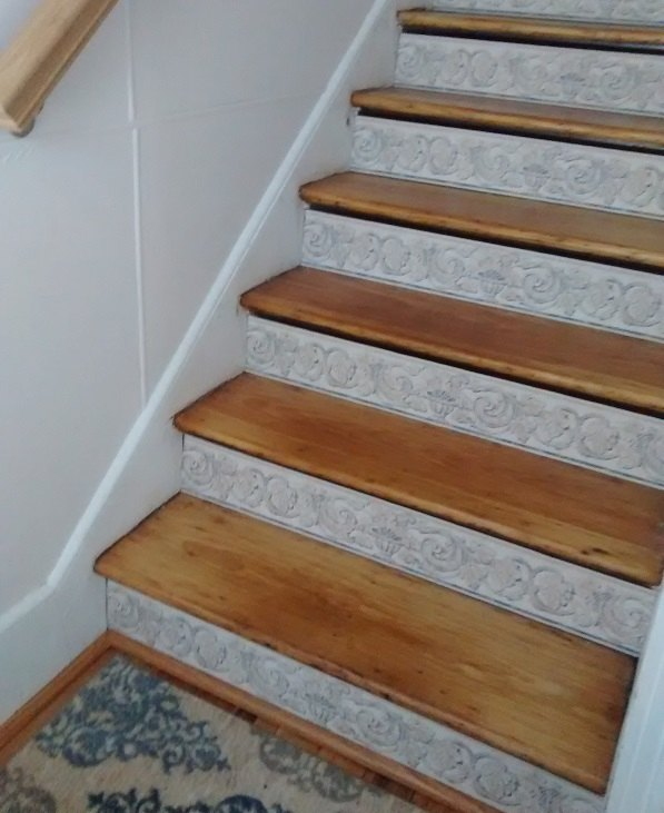 Diy Stair Treads Out Of Flor Tiles: Stair Risers + Wallpaper Border