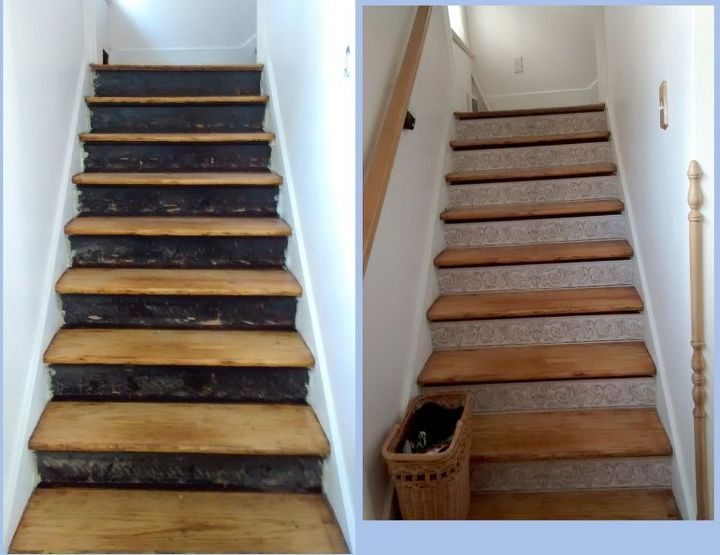 Completely new Stair Risers + Wallpaper Border | Hometalk ZF64