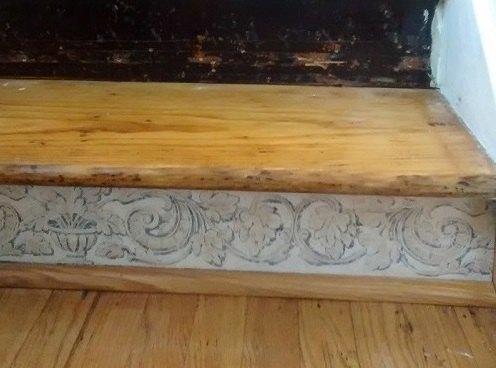 Bottom step with molding trim, hides a gap