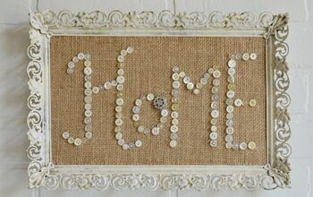 buttons and burlap messages in pretty frames, crafts