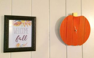 diy pumpkin clock, crafts, home decor, pallet, woodworking projects