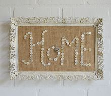vintage buttons and burlap messages in pretty frames, crafts