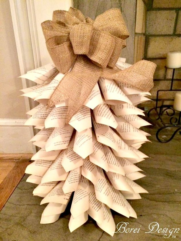 recycled book page mini christmas tree tutorial, christmas decorations, home decor, how to, repurposing upcycling