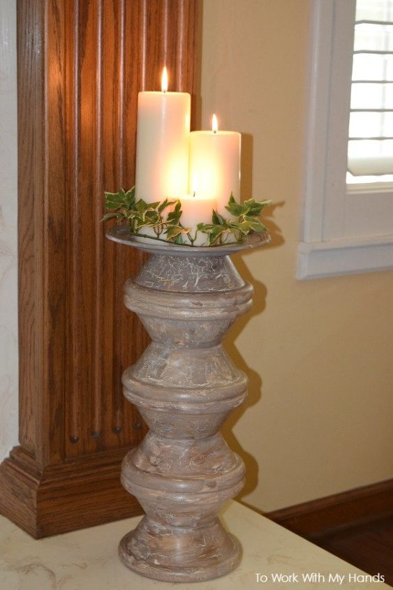 diy wood pillar stand from thrift store bowls , crafts, pallet, repurposing upcycling