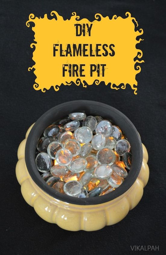 diy flameless fire pit, crafts, halloween decorations, outdoor living - People Will Be Filling Bowls With Glass Gems To Get This Magical
