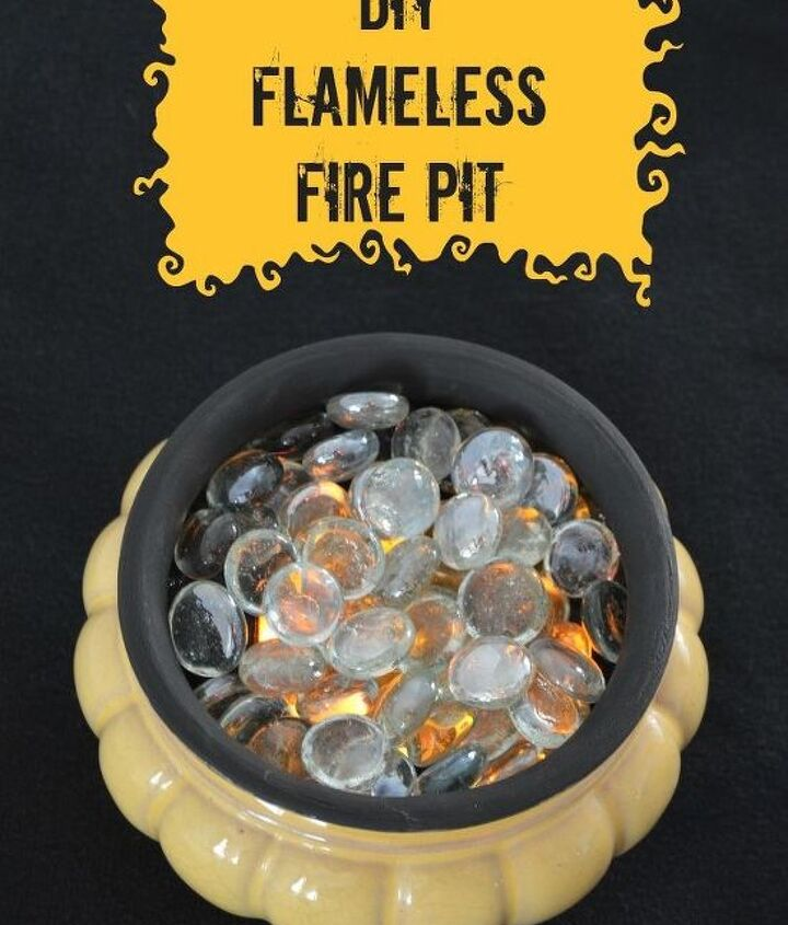 diy flameless fire pit, crafts, halloween decorations, outdoor living