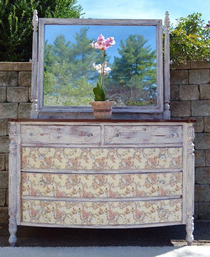 cottage elegance romantic tapestry vintage dresser with mirror, home decor, painted furniture