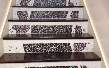 Changing Nasty Carpeted Stairs  to Mosaic Garden Path Magic!