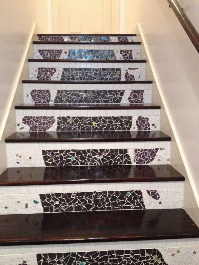 nasty carpeted stairs go to mosaic garden path magic , stairs