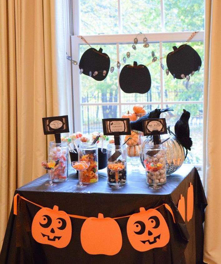 dollarstore halloween candy station and skeleton tray halloween decorations seasonal holiday decor