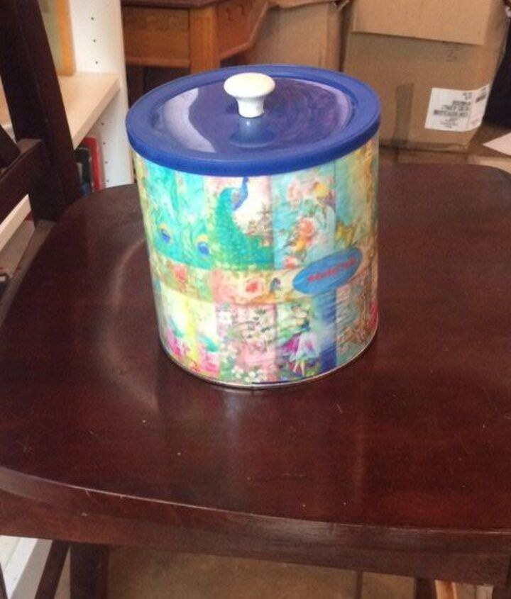 coffee can storage, decoupage, painted furniture, storage ideas