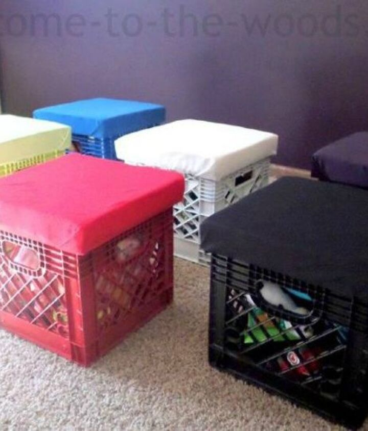 s 11 amazing toy storage ideas from highly organized moms, organizing, storage ideas, Keep them in comfy crate stools