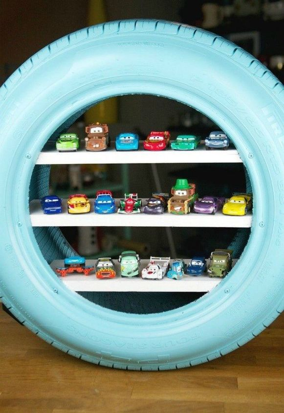 s 11 amazing toy storage ideas from highly organized moms, organizing, storage ideas, Repurpose a tire for mini toy cars