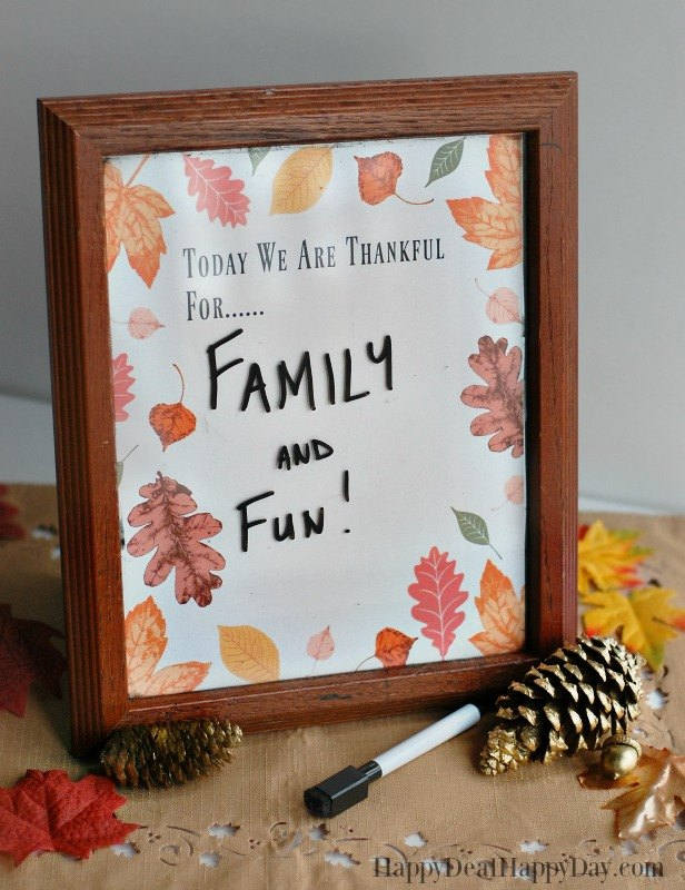 Picture Frame Dry Erase Board for Thanksgiving - Includes Free PDF ...