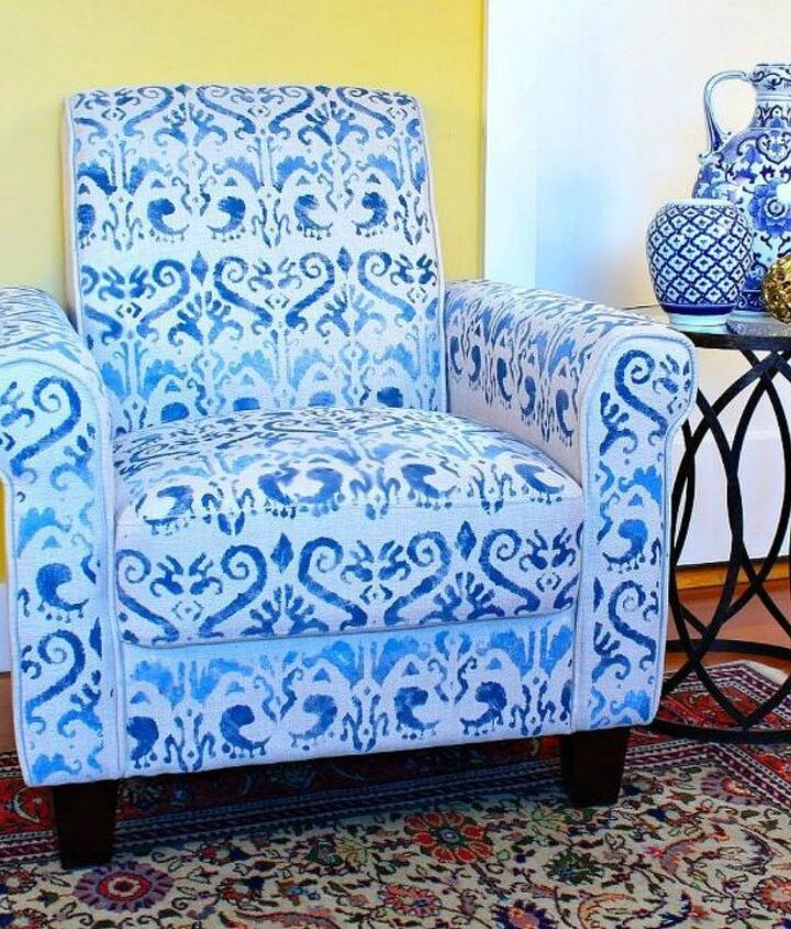 s shut the front door these decorating techniques are stunning , doors, Transform a boring chair with a stencil