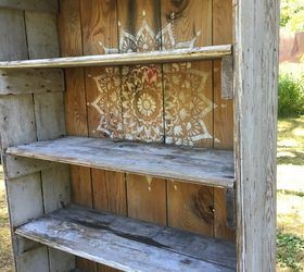 A Rustic Bookcase Makeover Using The Radiance Mandala Stencil, Home Decor, Painted  Furniture,