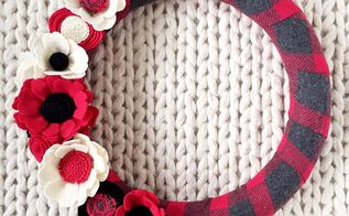 fabric covered felt flower wreath, crafts, gardening, reupholster, wreaths, Buffalo Check Plaid Felt Flower Wreath