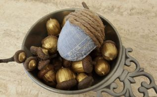 fabric and twine acorns, reupholster