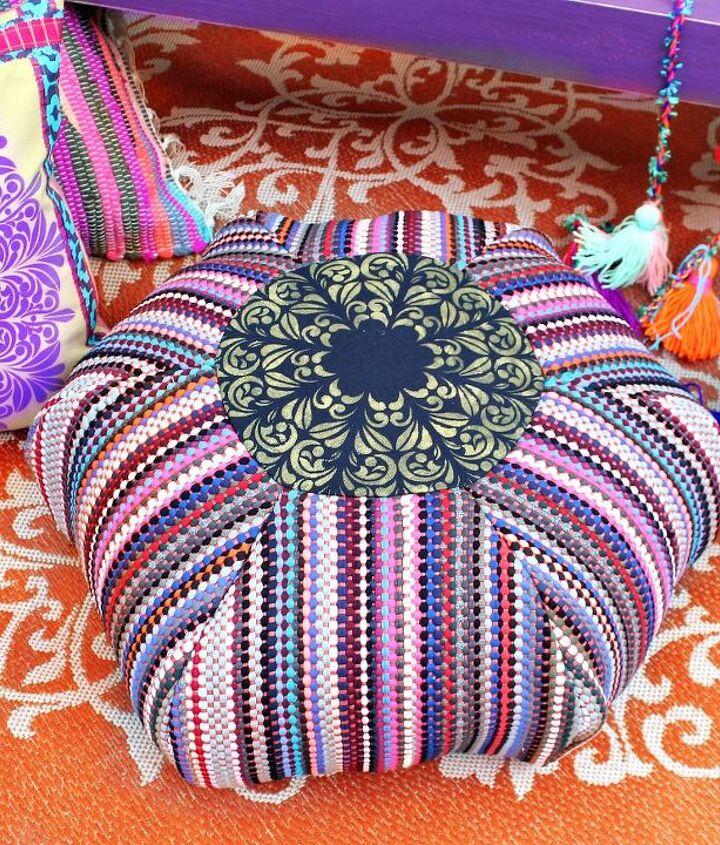 rag rug floor pouf diy, flooring, living room ideas, outdoor living, reupholster, urban living