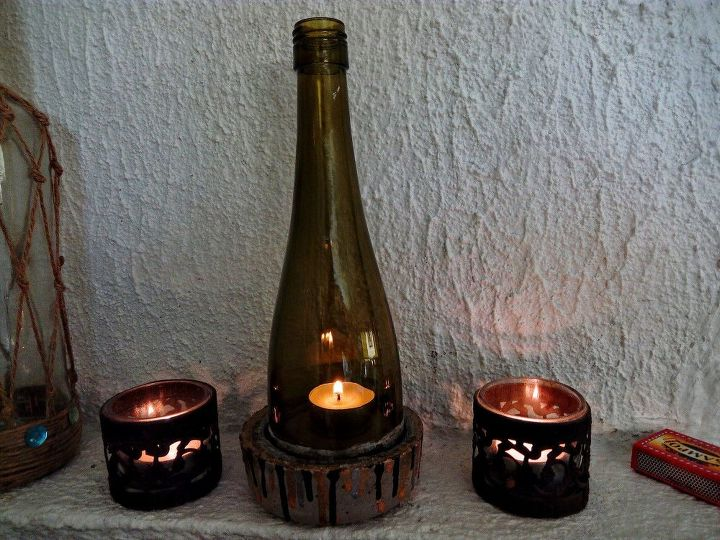 diy glass bottle lantern, concrete masonry, crafts, home decor, outdoor living