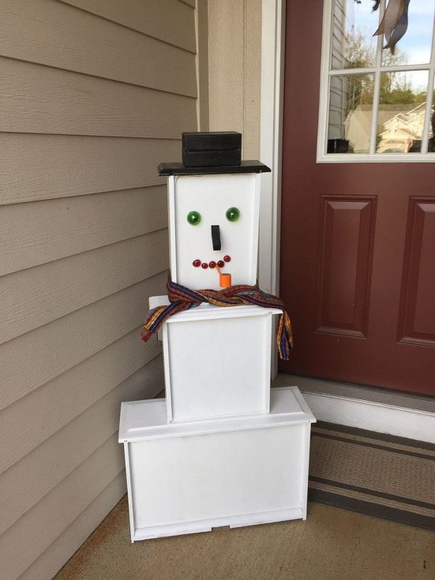 let it snow man from drawers , repurpose furniture