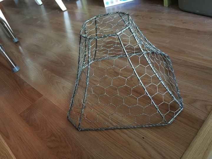 new life for a busted lamp shade with chicken wire , lighting, window treatments, windows