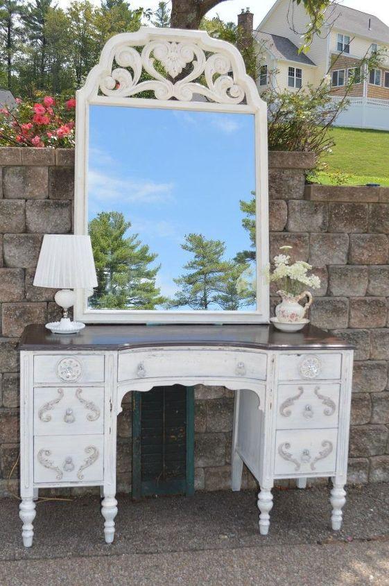 antique vanity desk w mirror in white milk paint and appliqu s, bathroom  ideas, - Antique Vanity Desk W/Mirror In White Milk Paint And Appliqués