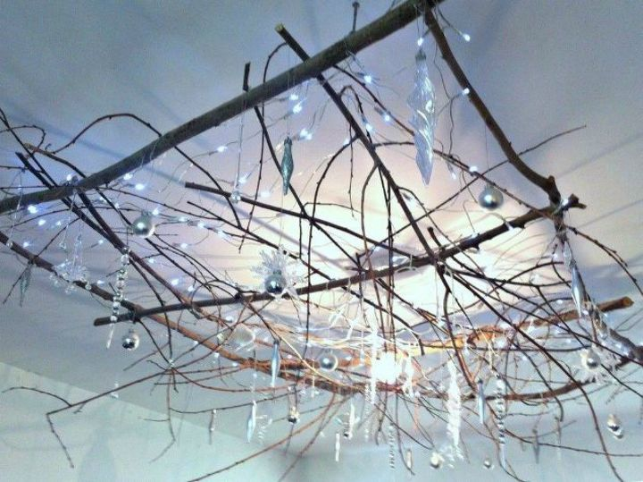 s hang your christmas lights in these 10 breathtaking spots, On your ceiling from twigs and branches