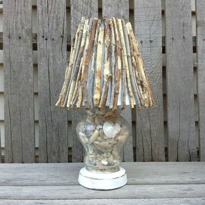 s these gorgeous transformations will make you rethink your lamp shades, lighting, window treatments, windows, Give it a rusted outdoor look with twigs