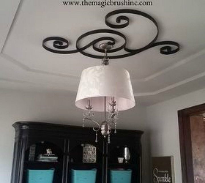 s make your dining room look amazing for 100, Decorate your ceiling and chandelier