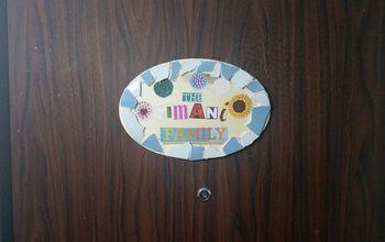 simple and fun front door name plate, doors
