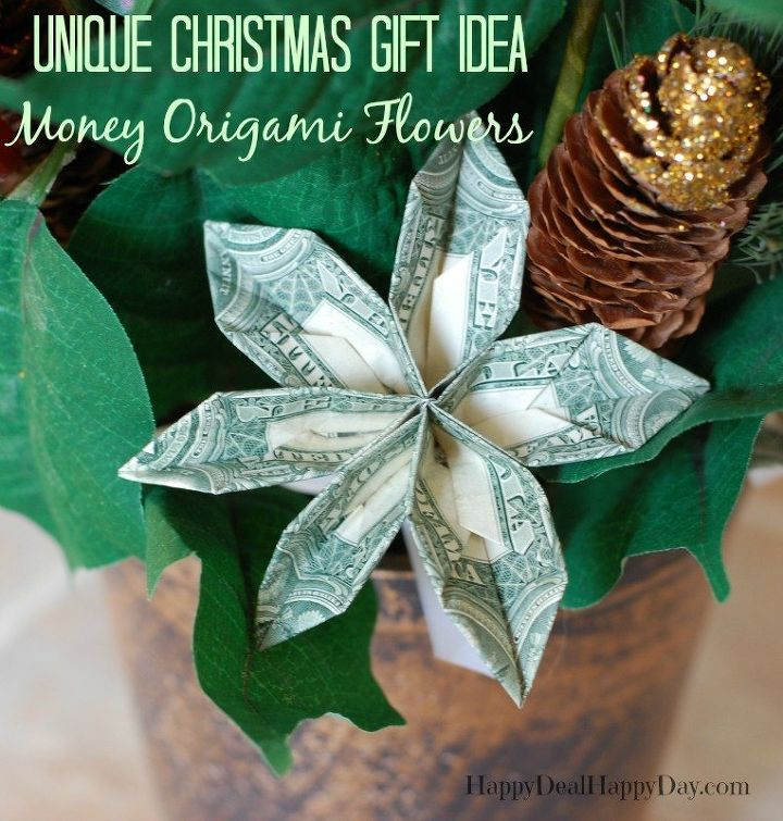Unique christmas gift ideas poinsettias with money origami flower unique christmas gift ideas poinsettias with money origami flower christmas decorations crafts gardening mightylinksfo