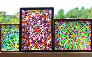 faux stained glass mandalas, appliances, home decor, kitchen design, painting, window treatments