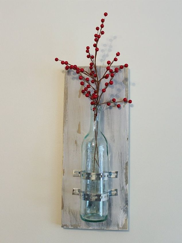 turning wine bottles into rustic chic wall decor, home decor, wall decor