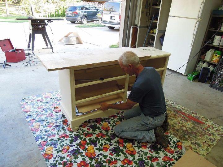 repurposed dresser into patio entertaining island, painted furniture