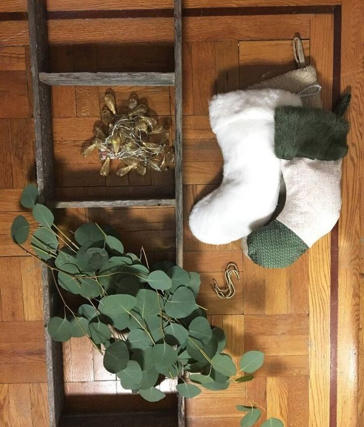 ladder stocking hanger, crafts, fireplaces mantels, home decor, painting, repurposing upcycling, seasonal holiday decor