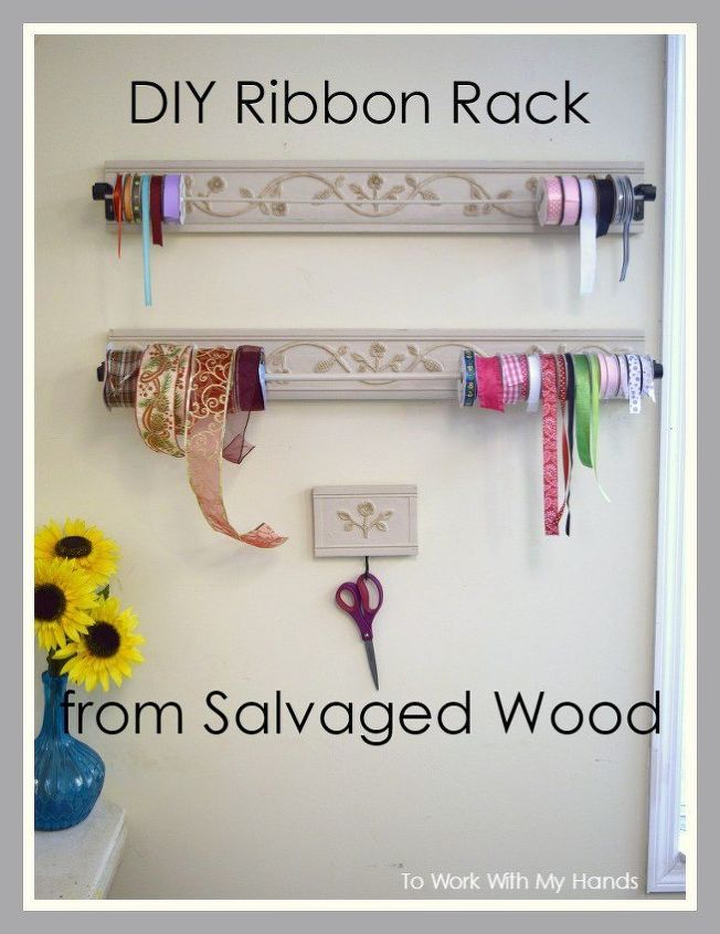 diy ribbon rack from salvaged wood, crafts, painting, repurposing upcycling, woodworking projects