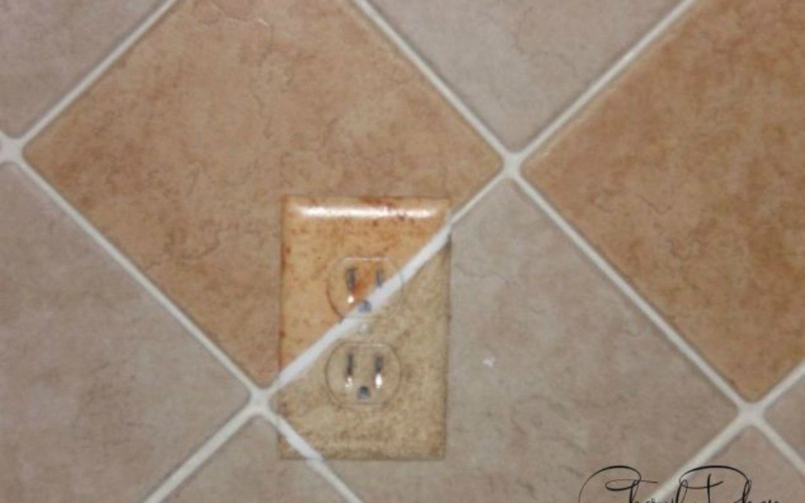 s hate your ugly outlet steal these 11 ideas, Hand paint them to match your granite