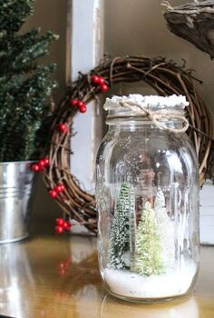 diy mason jar winter tree decor, home decor, mason jars
