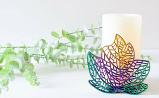 diy ombre wooden leaf candleholder, crafts, fireplaces mantels, home decor, painted furniture, pallet, shelving ideas