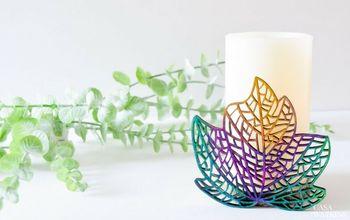 DIY Ombre Wooden Leaf Candleholder