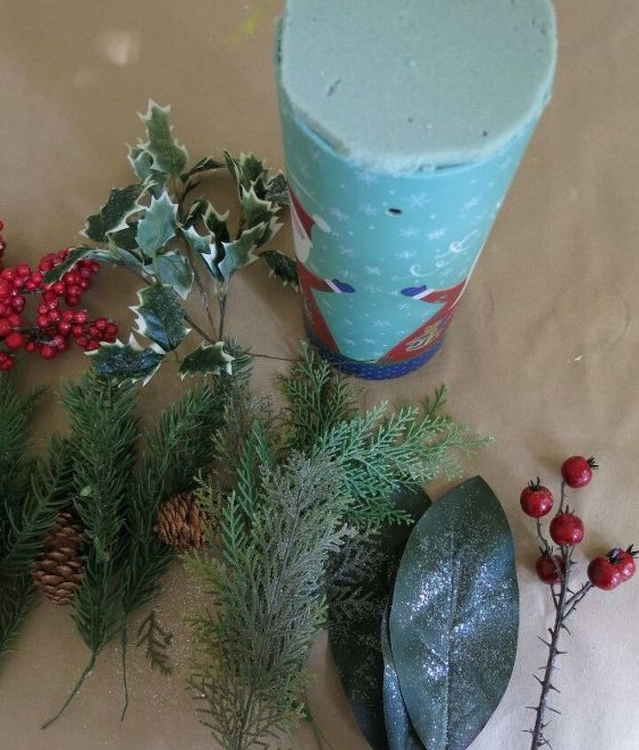 turn a holiday gift box into a christmas floral arrangement, christmas decorations, crafts, gardening, home decor, pallet, repurposing upcycling, seasonal holiday decor