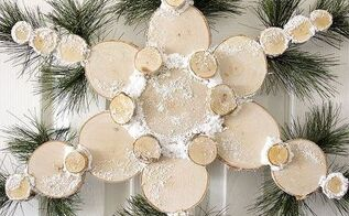 rustic wood slice snowflake, crafts, gardening, landscape, wreaths