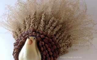handcrafted thanksgiving turkey using ornamental grasses and pinecones, crafts, gardening, lawn care, seasonal holiday decor, thanksgiving decorations