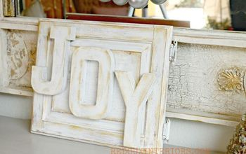 Make a Holiday Joy Sign With an Old Cupboard Door